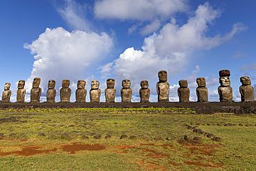 Ahu Tongariki, 15 Moai upright. Rapa Nui, Easter Island, Chile
