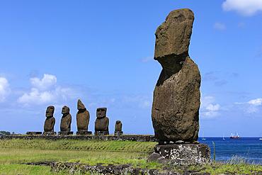 Moai of the Ahu of Tahai Hanga Roa, Easter Island, Chile