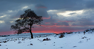 A wintery sunset in the Peak District National Park. Sunset in the Peak District National Park in winter.