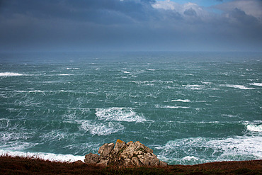 Storm Bella in Beuzec-Cap-Sizun, in the Bay of Douarnenez, on December 28, 2020. Wind of 140 km/h. Brittany, France