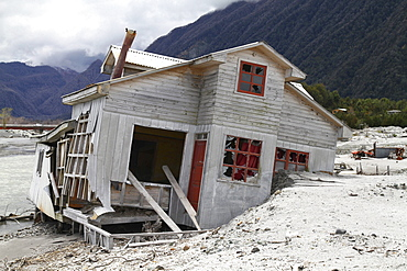 a lahar destroyed parts of the town of Chaiten in May 2008 houses were washed into the sea of mud floods from lava ashes South Chile Chile South America America Chile South America America