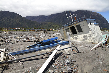 boat embedded in deposits of lahar Chaiten South Chile Chile South America America Chile South America America