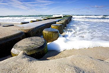 groyne in Baltic sea water surf foam nature Mecklenburg-Vorpommern Germany Nature Ocean Scenery