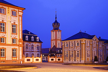 Bruchsal castle with church at night Baden-Wurttemberg Germany