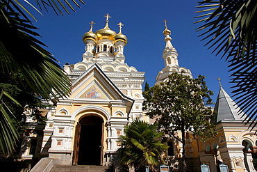 entrance of the Alexander Niewsky cathedral old historical Russian Orthodox church