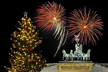 fireworks over Brandenburg Gate with Quadriga night view