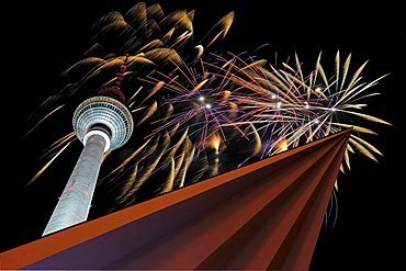 fireworks over television tower night view