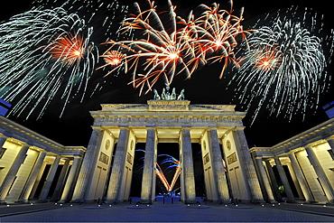 fireworks over Brandenburg Gate night view