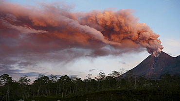 explosive eruption on volcano Merapi nature natural phenomenon Java Indonesia Asia