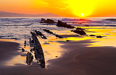 parallel rock formations on sea shore in tidal zone of sea with sun at sunset sunrise in background contre-jour shot backlit outdoors La Rasa Mareal flysch cliffs Basque Country Spain Europe