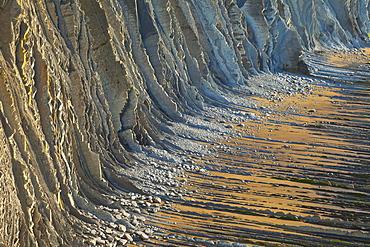 flysch at Sakoneta beach sedimentary rocks at the Basque coast between the villages of Deba and Zumaia UNESCO Geopark Nature Ocean Scenery Travel