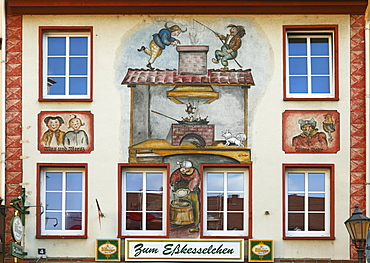 old town of Koblenz old historical building with frescos of Max and Moritz and widow Bolte