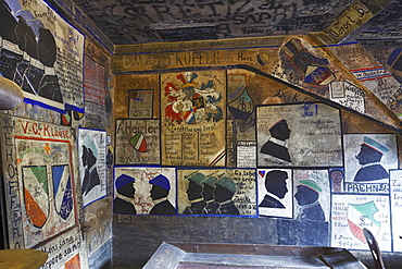 old historical holding cell with graffiti painting in the student Karzer of the university of Heidelberg