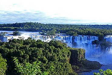 South America Brazil landscape waterfalls Iguacu Falls Iguazu Falls water foaming falling river Parana River rainforest