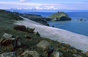 View of Baily Head, and Livingston Island on the horizon.  Whaler's Bay, Deception Island, Antarctic Peninsula, Antarctica