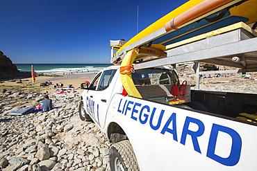 A lifeguard vehicle at Chapel Porth on the Cornish coast, near St Agnes.