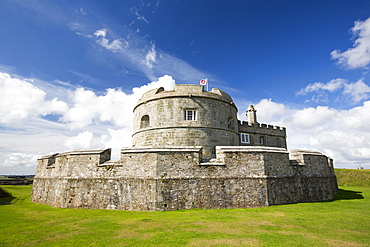 Henry VIII's Fort at Pendennis Castle, a fortress that has protected Cornwall from invasion for 450 years, Falmouth, UK.