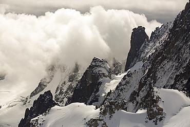 Mont Blanc Du Tacul from the Aiguille Du midi, above Chamonix, France.