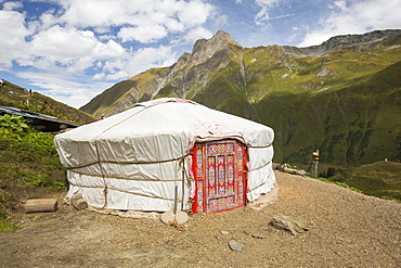 A yurt at a mountain refuge below Mont Ferret in the Swiss alps, above La Fouly.