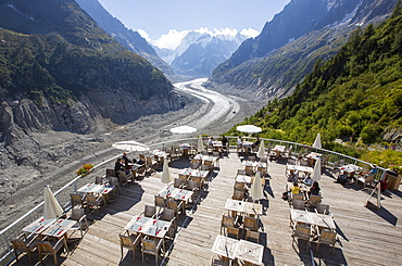The Mer De Glace which has thinned 150 meters since 1820, and retreated by 2300 Metres, with a balcony cafe overlooking the rapidly shrinking glacier.
