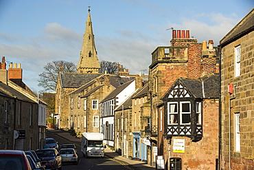 Alnmouth main street, Northumberland, UK.