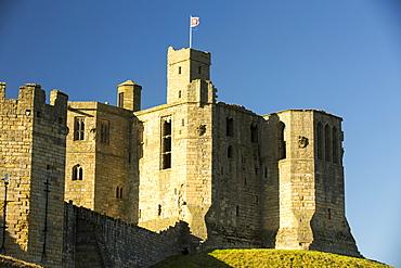Warkworth Castle in Northumberland, UK.