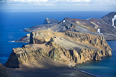 Deception Island in the South Shetland Islands off the Antarctic Peninsular is an active volcanic caldera.