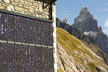 Solar panels on a visitor centre in the Vallon de la Lex Blanche below Mont Blanc, Italy, on the Tour de Mont Blanc long distance footpath.