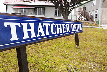 Thatcher Drive in Port Stanley, the capital of the Falkland Islands, named after Margaret Thatcher took the decision to liberate the Falklands after the Argentine invasion.