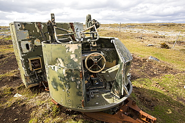 A left over artillery battery from the Falklands conflict on the outskirts of Port Stanley, Falkland Islands.