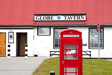 A pub and English phone box in Port Stanley, the capital of the Falkland Islands.