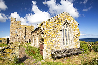 St Cuthberts Chapel on Inner Farne, in the Farne Islands, Northumberland, UK.