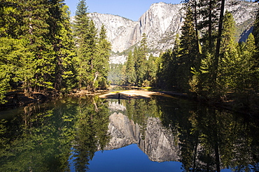 The Merced River in the Yosemite alley, near Yosemite village, California, USA.