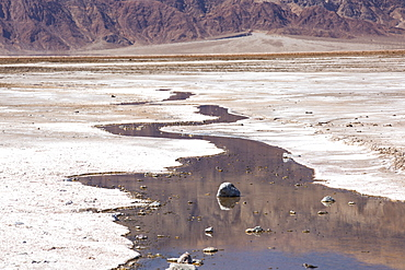 Saline creeks in Death Valley which is the lowest, hottest, driest place in the USA, with an average annual rainfall of around 2 inches, some years it does not receive any rain at all.