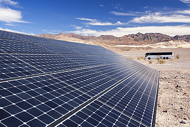 Solar panels at the Furnace Creek Visitor Centre in Death Valley. Death Valley is the lowest, hottest, driest place in the USA, with an average annual rainfall of around 2 inches, some years it does not receive any rain at all.
