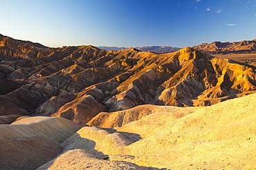 Badland scenery at sunset, Zabriskie Point in Death Valley which is the lowest, hottest, driest place in the USA, with an average annual rainfall of around 2 inches, some years it does not receive any rain at all.