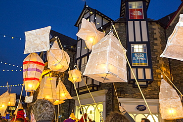The lantern procesion at the Christmas lights switch on in Ambleside, Lake District, UK.