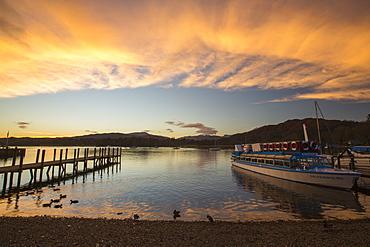 Lake Windermere at sunset, Ambleside, Lake District, UK.