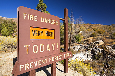 A fire danger sign next to forest that has been burnt by a fire in the Tule river area of the Sequoia National Forest, east of Porterville, California, USA. California is in the grip of a four year long exceptional drought, that has made wild fires much more frequent, as well as wiping $2.2 Billion annually off the agricultural sector.