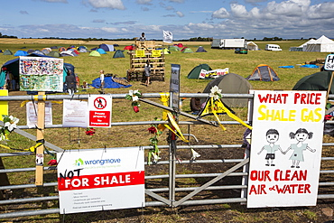 A protest camp against fracking at a farm site at Little Plumpton near Blackpool, Lancashire, UK, where the council for the first time in the UK, has granted planning permission for commercial fracking fro shale gas, by Cuadrilla.