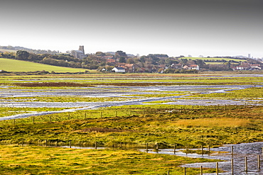 Coastal flooding on fields at salthouse on the North Norfolk coast, UK.