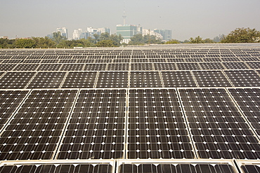 A 1 MW solar power station run by Tata power on the roof of an electricity company in Delhi, India.