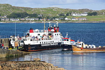 The Iona ferryat Fionnphort, on the Isle of Mull, Scotland, UK, with Iona in the background.