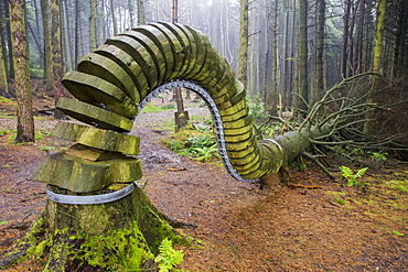 The Pendle Sculpture Trail in Aitken wood, near Clitheroe, Lancashire, UK.