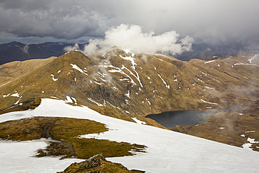 Looking towards Meall Garbh a Munro on the side of Ben Lawers above Loch Tay in the Scottish Highlands, UK.