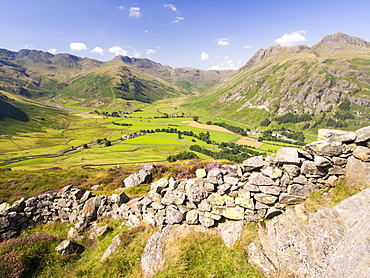 A dry stone wall on Lingmoor above the Langdale valley in the Lake District, UK, with the Langdale Pikes in the background.
