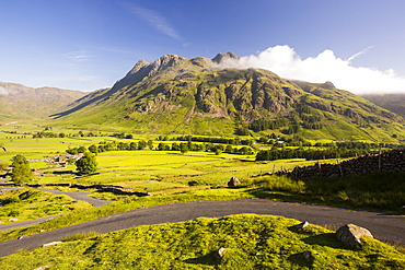 The Langdale Pikes in the Langdale valley, Lake District, UK.
