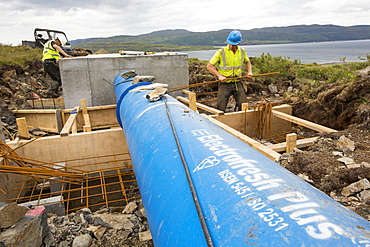 A 700 Kw hydro power plant being constructed on the slopes of Ben more, Isle of Mull, Scotland, UK.
