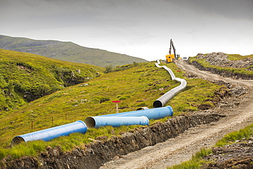 A 700 Kw hydro pwer scheme being constructed on the slopes of Ben More on Mull, Scotland, UK.