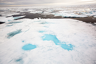 Rotten sea ice at over 80 degrees North off the north coast of Svalbard. Climate change is causing sea ice to retreat rapidly. The latest science predicts that the Arctic will be completely ice free in the summer around 2054. The sea ice broke up very early around Svalbard in 2013.